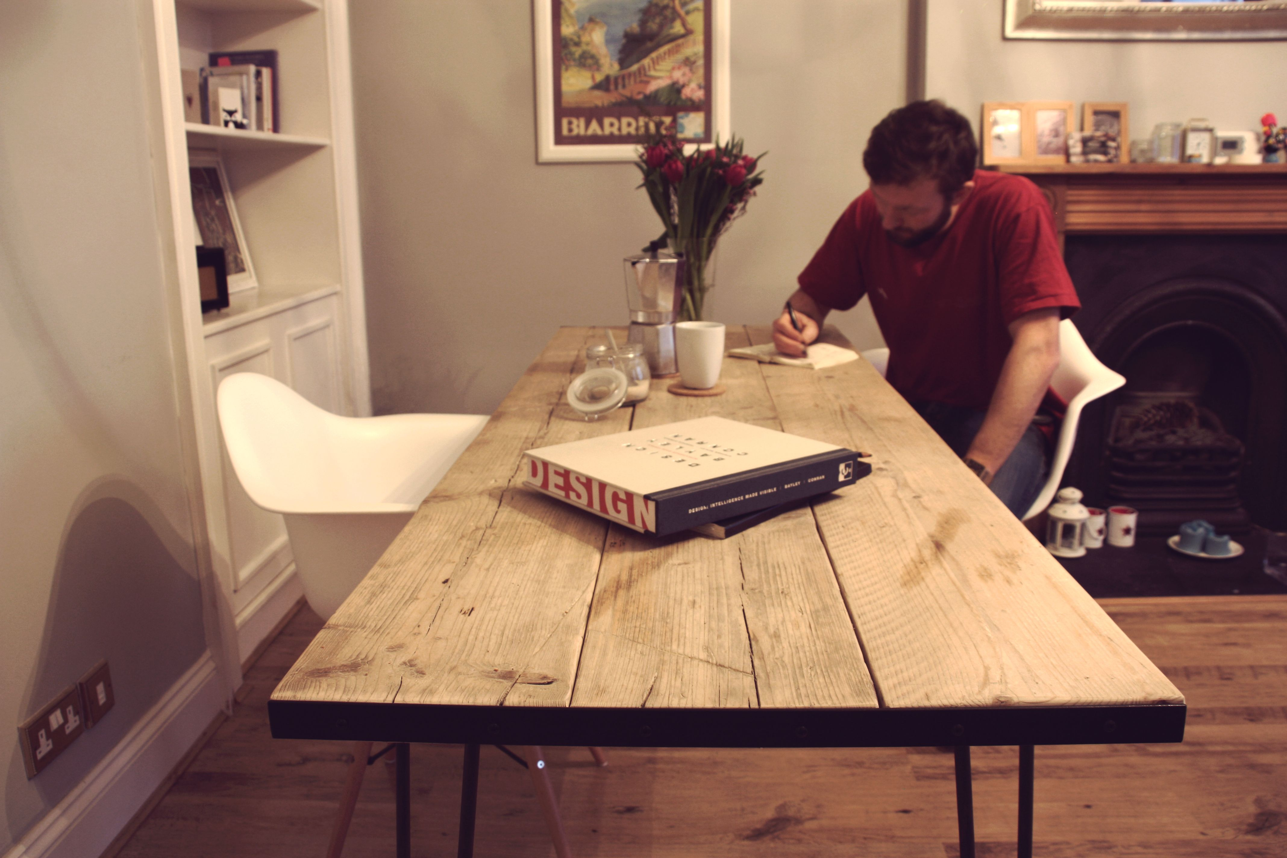handmade table with upcycled scaffold plank top and hairpin legs