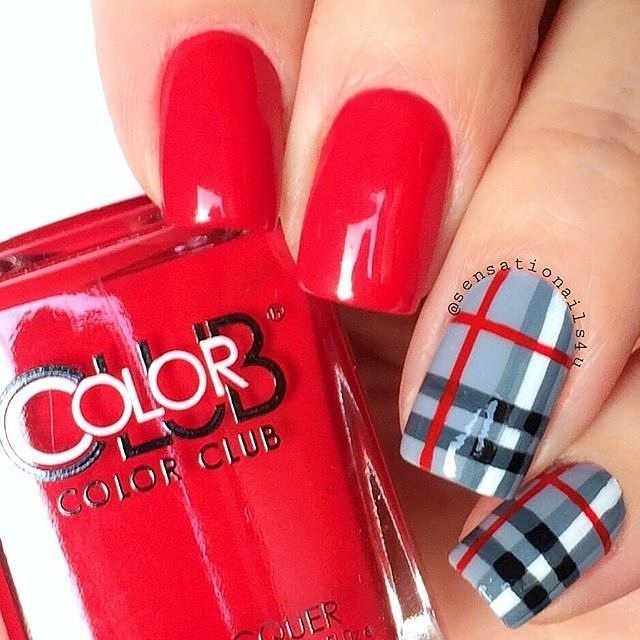 """Getting fancy with Color Club """"Red Handed"""", available at www.colorclub.com…"""