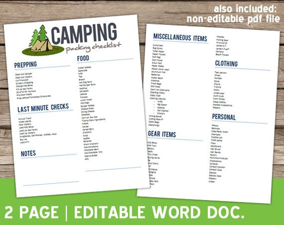 Editable Camping Checklist For Summer Word Document  Vacation