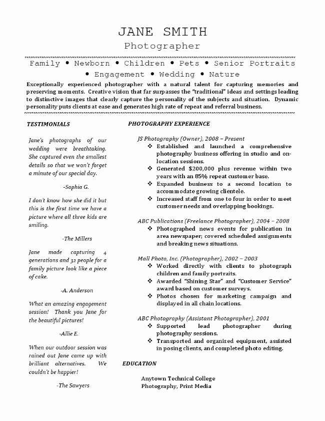 25 Freelance Writer Resume Sample in 2020 Photographer