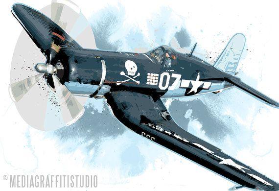 Airplane art print of a F4U CORSAIR WWII warbird vintage