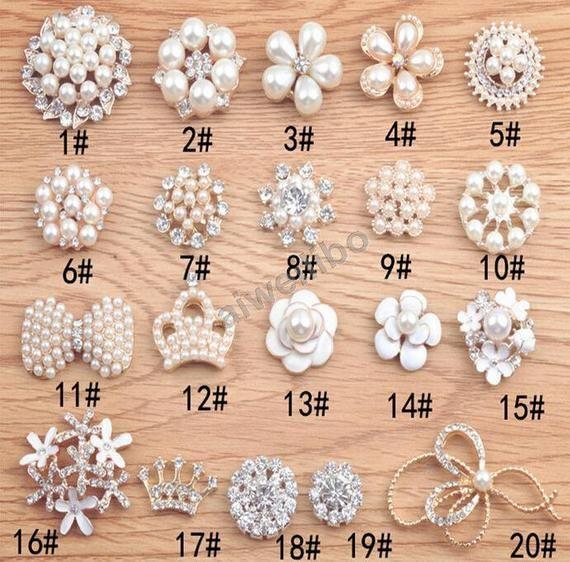 5pcs Rhinestone Faux Pearl Flower Flatback Embellishments Button Crystal