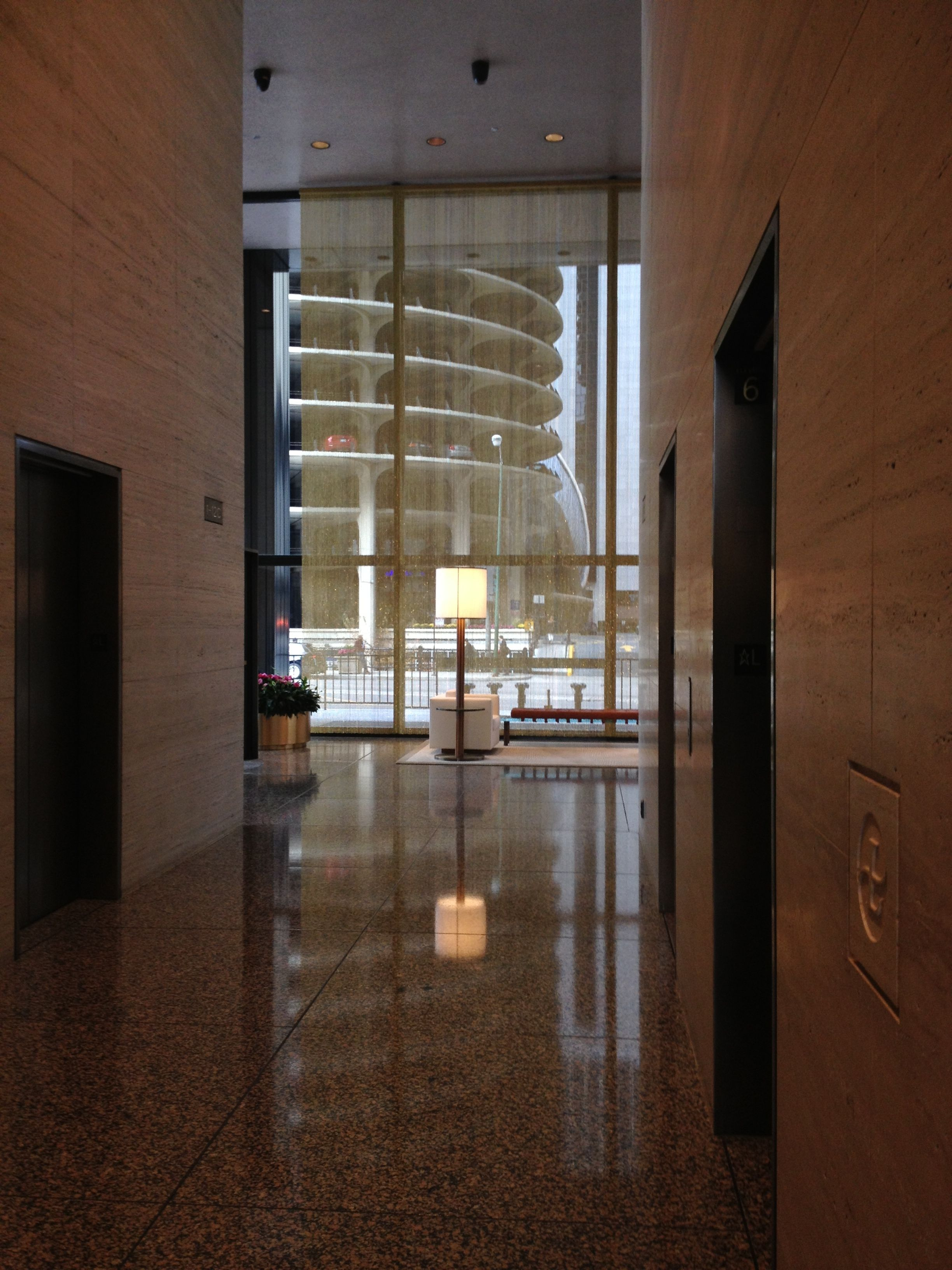 Modern view facing Marina City from the lobby elevators