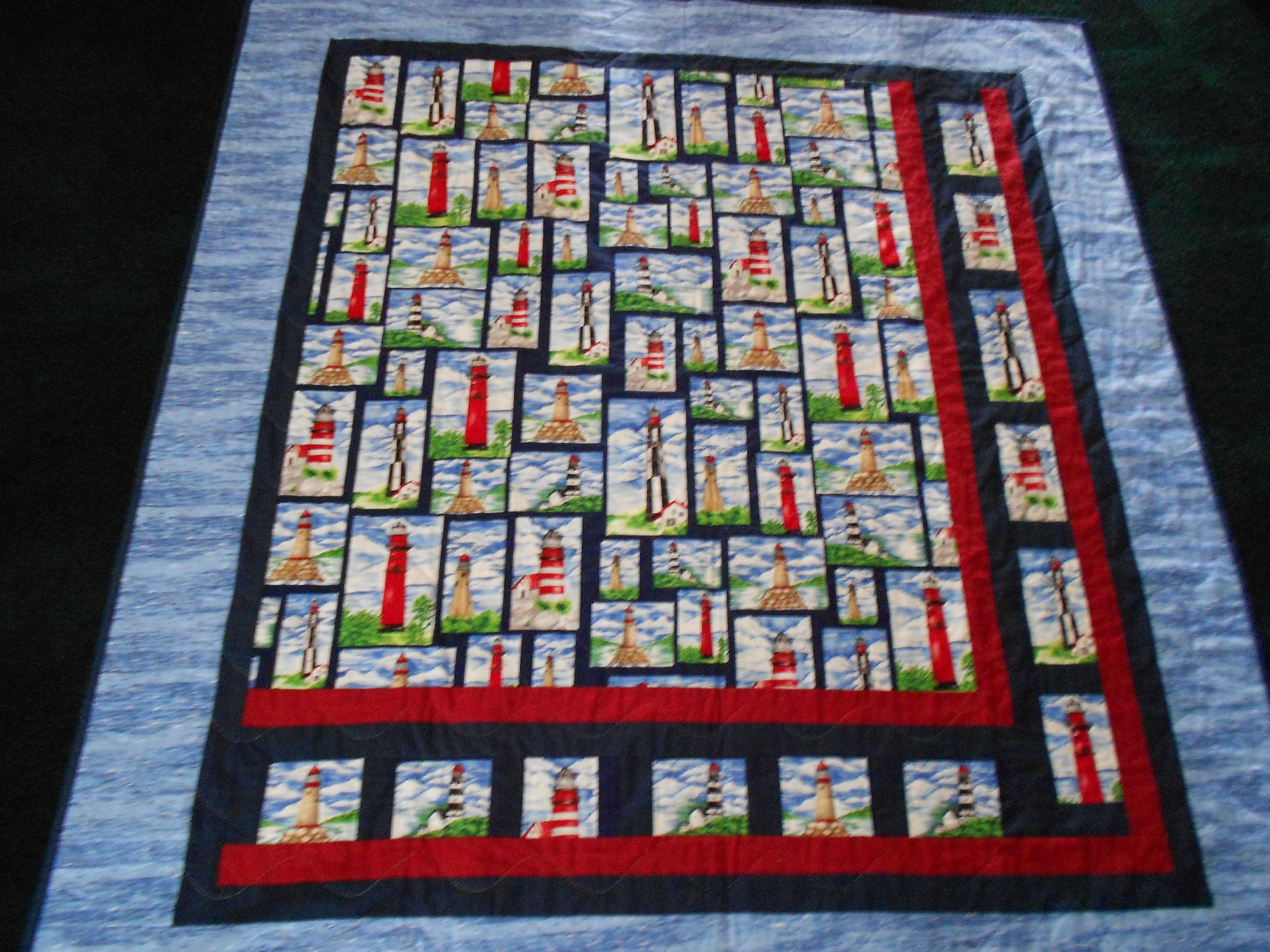 Hand quilted lighthouse throw pleted projects