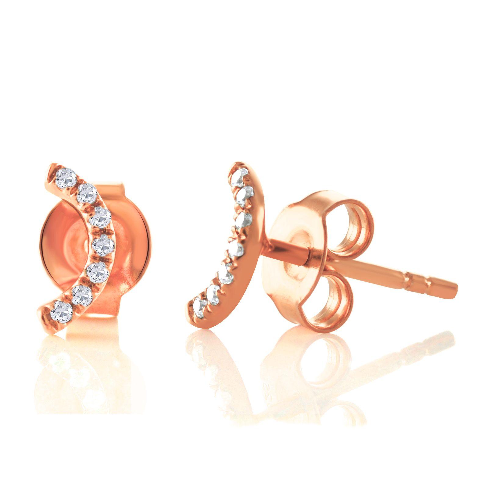 Solid Rose Gold Half Moon Studs 14K Gold Diamond Stud Earrings