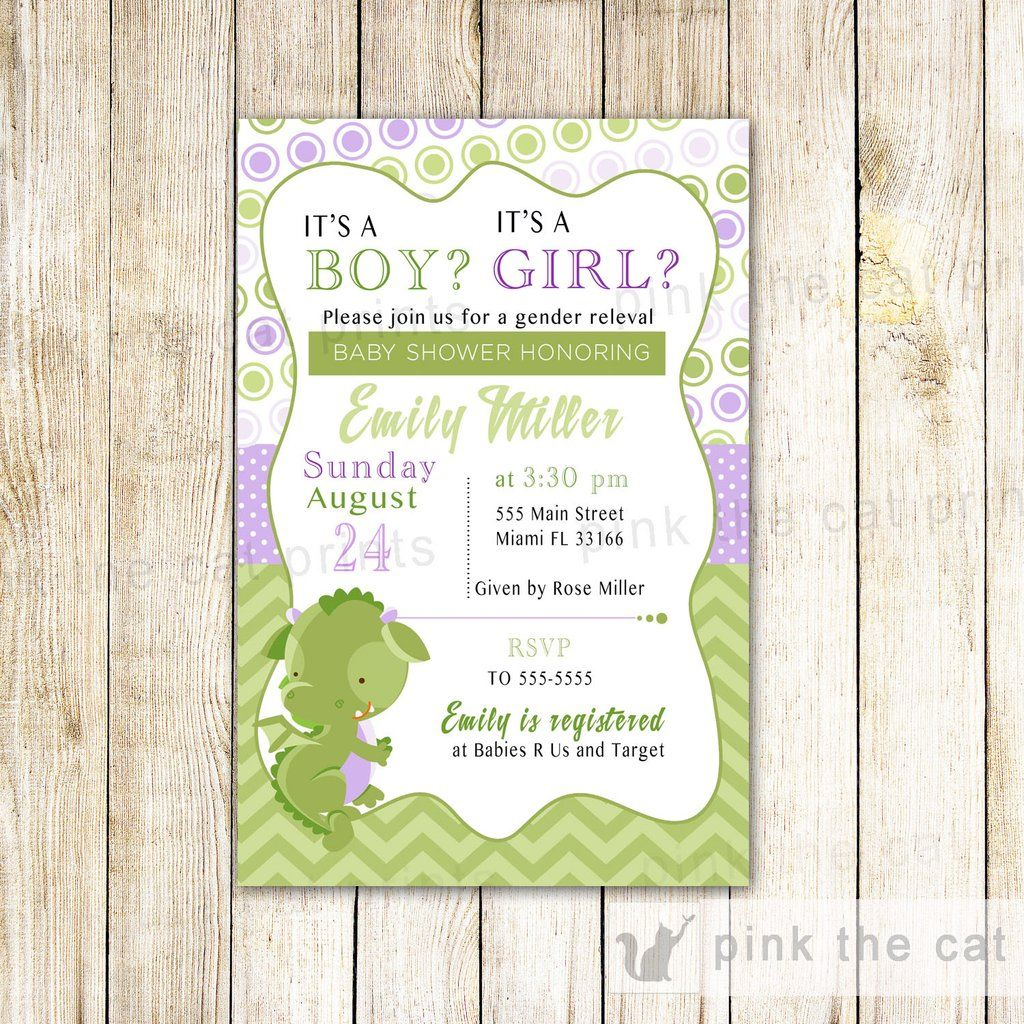 Dragon Invitation Gender Reveal Baby Shower Purple Green Things I