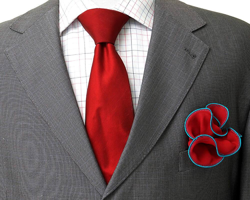 d4f7ccf64852b Red Round Pocket Square with Teal Edging | Mens Fashion | Silk ...