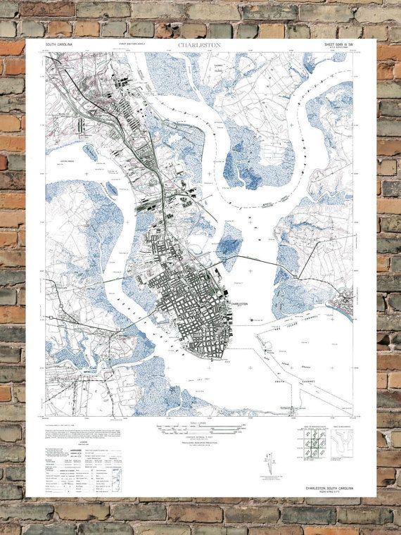 Vintage Charleston South Carolina Map by ParMarMedia on Etsy