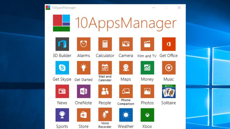 10AppsManager Uninstalls or Reinstalls Default Windows 10