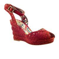 Miss L Fire Tijuana Red Tooled leather wrap-around wedge peep toe sandal.  What more could you ask for?
