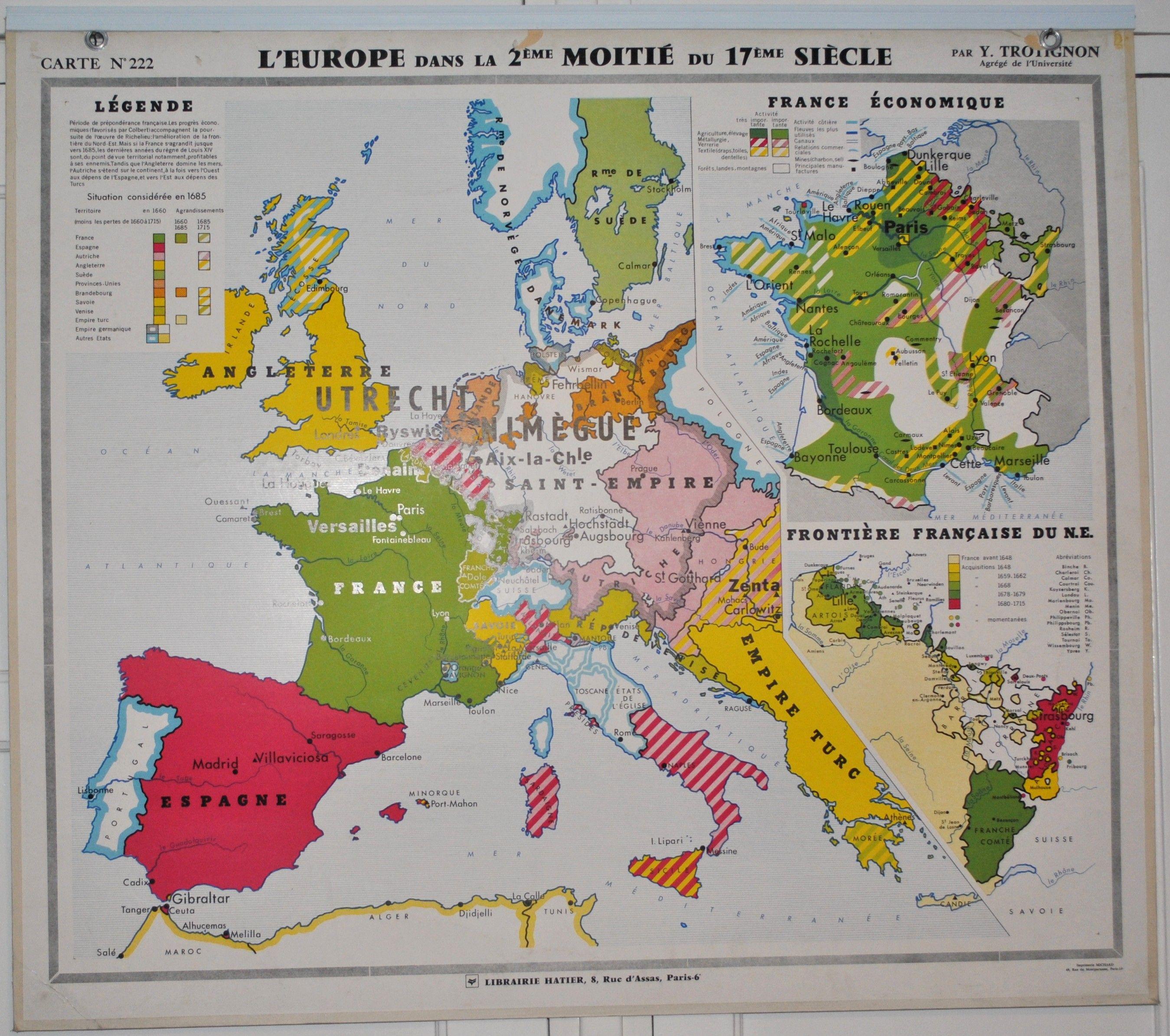 Carte N°222 223 L Europe dans la 2¨me moitié du 17¨me Si¨cle et L