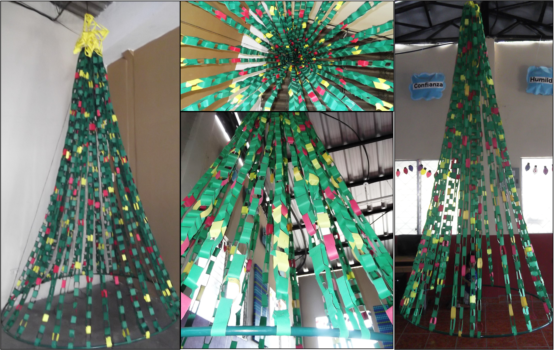 paper chain Christmas tree I made for a school and church Spray