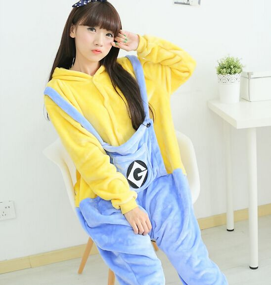 new 2016 winter christmas sleepwear a hoodie pyjamas adult despicable me minion i onesie cosplay costume adult minion pajamas new 2016 winter christmas