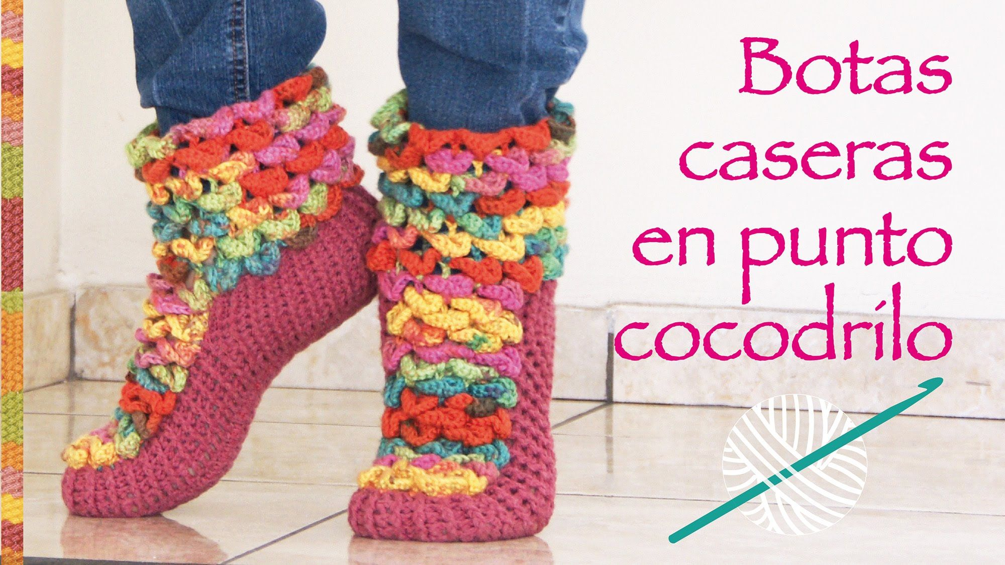 Botas de casa en punto cocodrilo tejidas a crochet... ¡muy ...