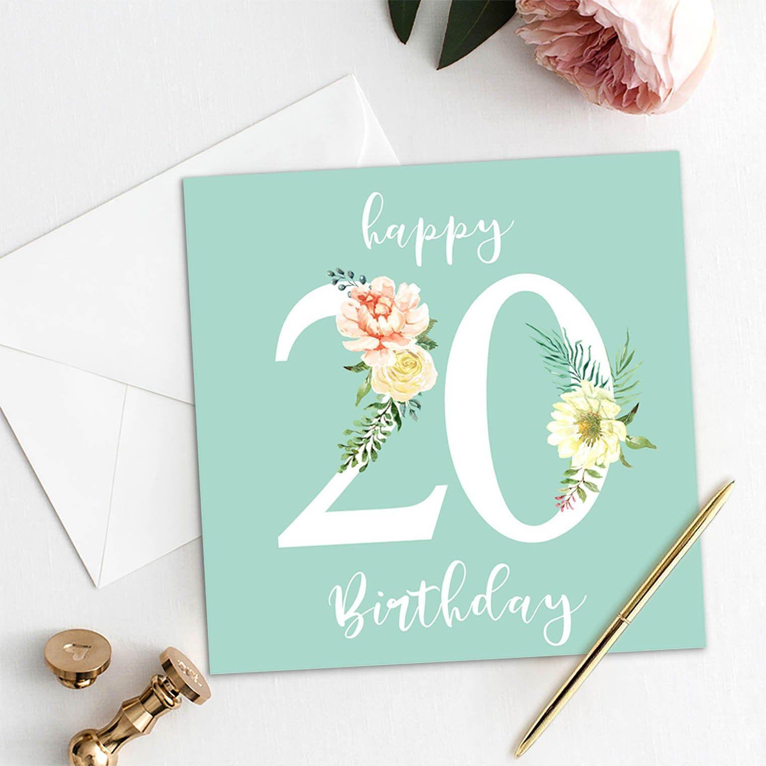 20 Birthday Card Age 20 Birthday Card 20 Birthday Present 20 Birthday Gift Ideas Birthday Party Diy Card For Her For Women Happy 20th Birthday Cards 20th Birthday Flower Birthday Cards