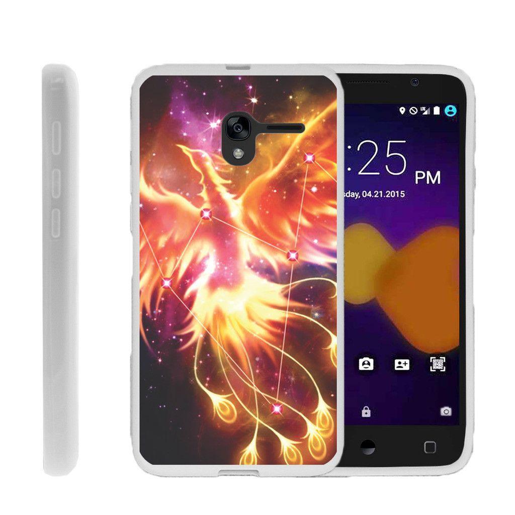 Alcatel Stellar Flexible Case, Alcatel Tru Flexible Case [FLEX FORCE] Flexible SLim Fit TPU Case Cover - Phoenix Bird Stars