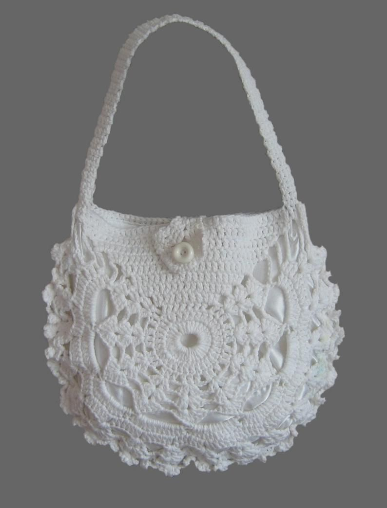Ladies crochet summer handbag / White summer bag/ Purse #uncinettoperbambina