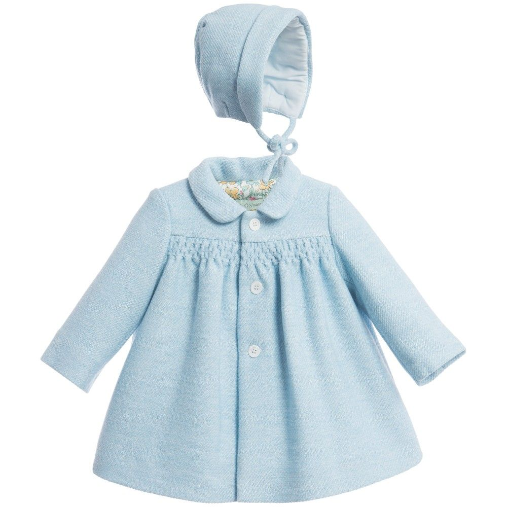 Nanos Baby Girls Blue Padded Coat & Bonnet Set at Childrensalon ...