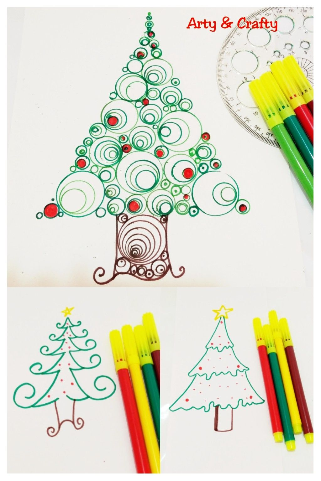 Learn How To Draw 3 Types Of Christmas Tree Xmas Easy Christmas Drawing For Ki Christmas Drawings For Kids Easy Christmas Drawings Christmas Tree Coloring Page