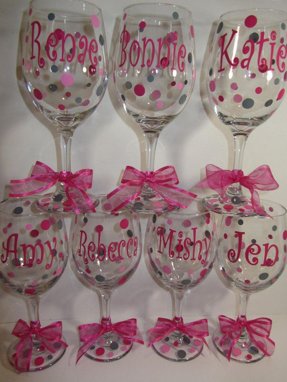 personalized wine glasses to use and as favors but instead with bride bridesmaid mother of the brideand guest names etc