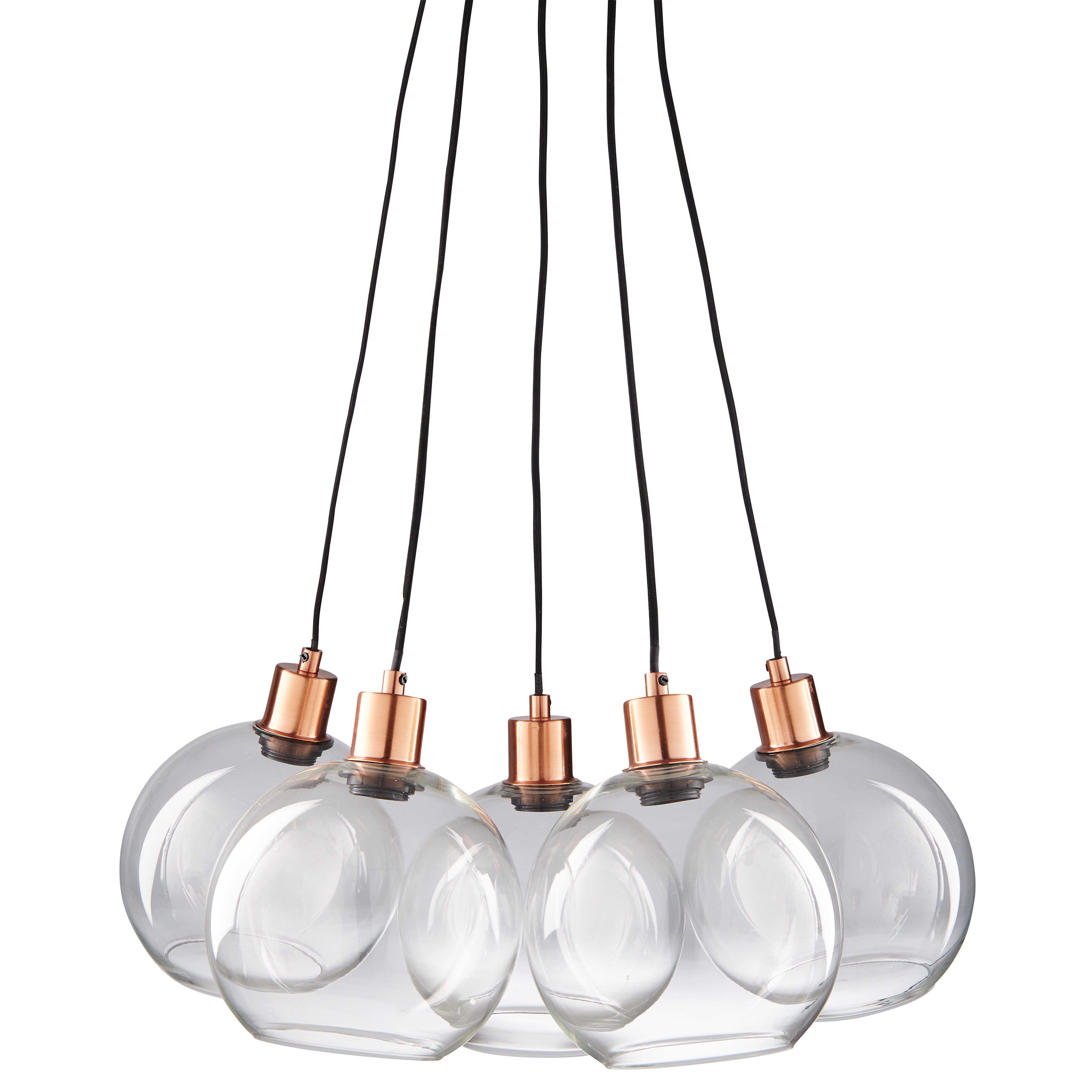 Suspension 5 ampoules en verre et métal cuivré