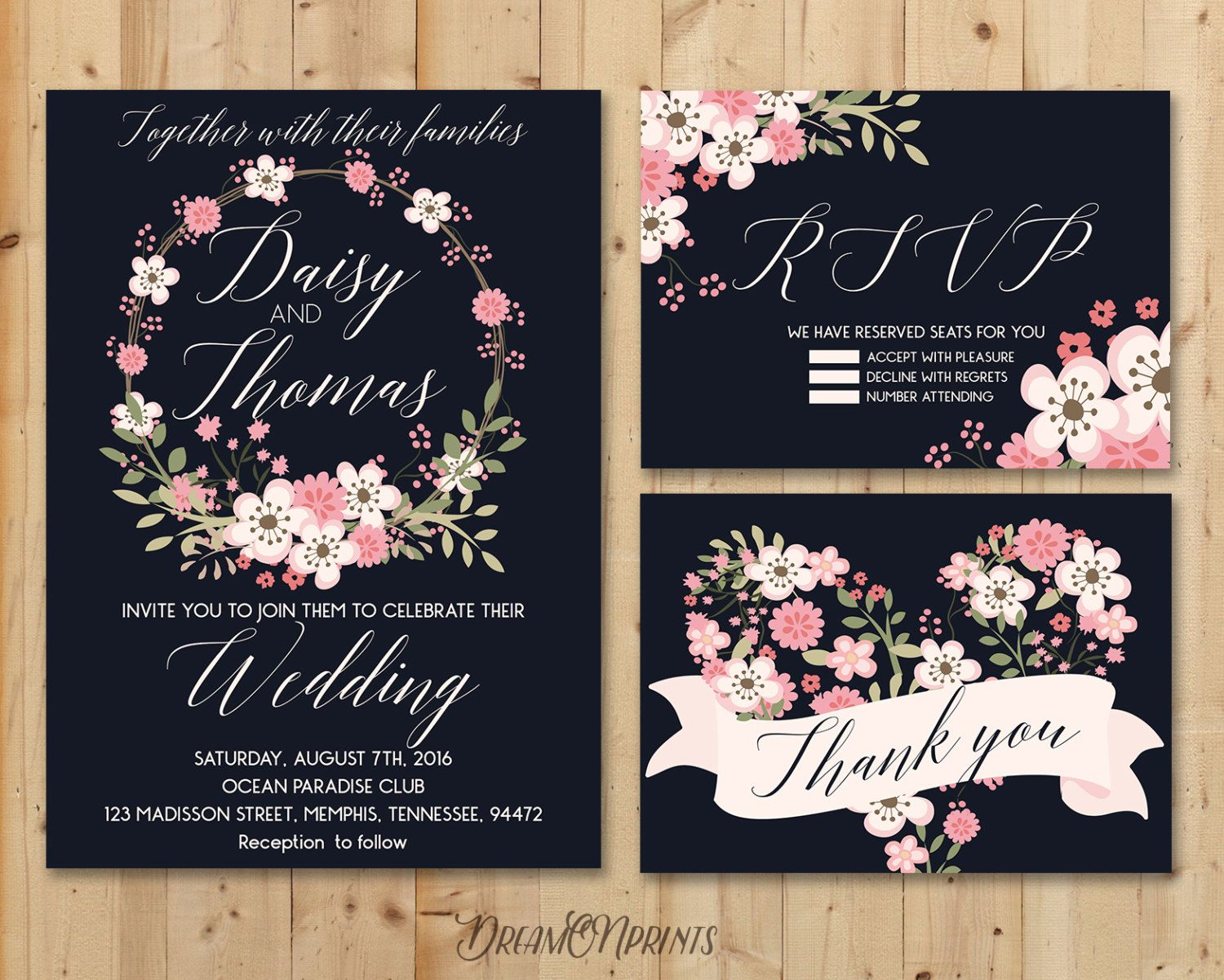 Navy Wedding Invitation Suite Summer Wedding Invitation Modern