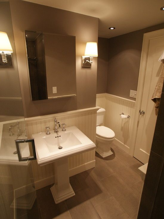 Wainscoting in bathroom design pictures remodel decor for Half bath remodel ideas