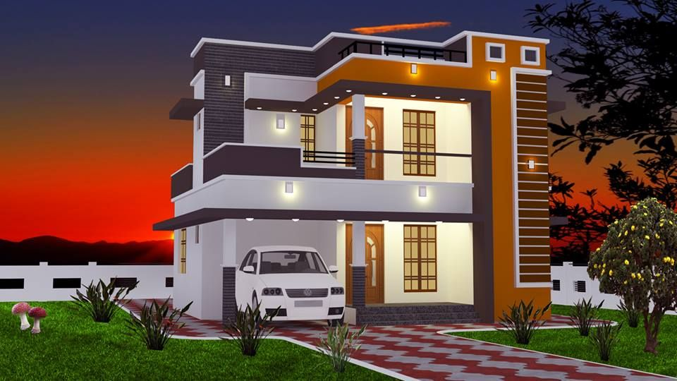Low Cost 2 Bedroom Double Storey Home In 965sqft For 16 Lakhs Free Kerala Home Plans Cool House Designs Free House Plans Courtyard House Plans