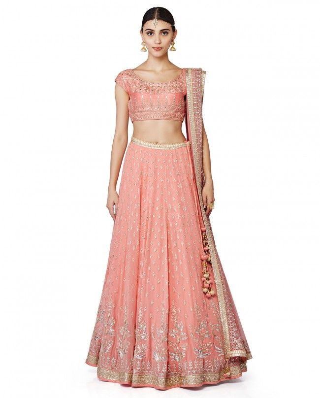 Anita Dongre Pink Cotton and Georgette Lehenga with Choli and ...