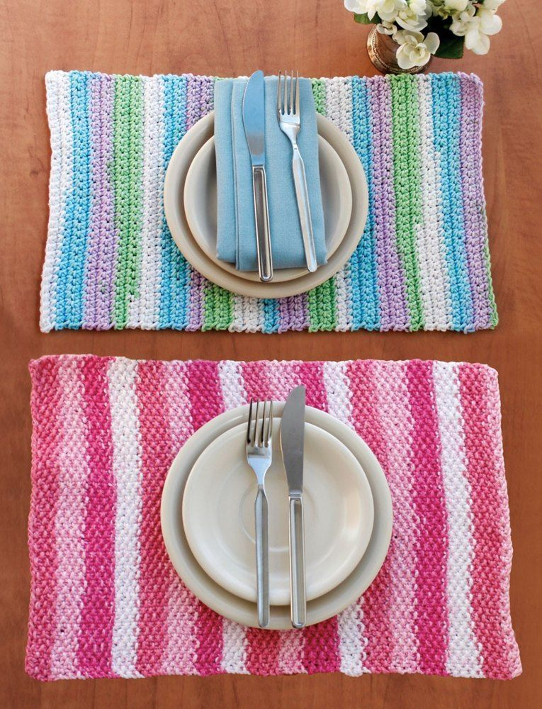 Stripes Placemat In Lily Sugar N Cream Stripes Free Crochet