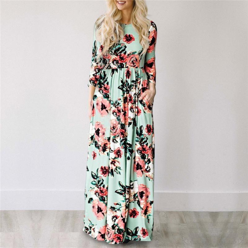 5ea3908de2e2 2018 Summer Long Dress Floral Print Boho Beach Dress Tunic Maxi Dress Women  Evening Party Dress Sundress Vestidos de festa XXXL