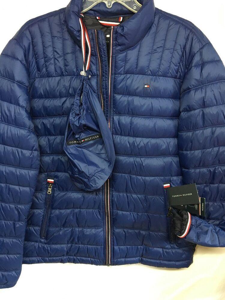 Tommy Hilfiger Mens Blue Packable Down Jacket Size Large