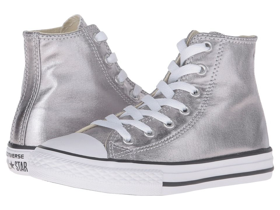 c24fe2c6491f94 Converse Kids Chuck Taylor(r) All Star(r) Metallic Canvas Hi (Little Kid) Girls  Shoes Metallic Gunmetal White Black