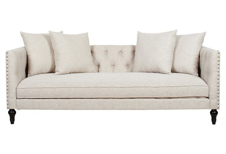 Okl Surrey 83 Tufted Tuxedo Sofa Tan On For 819 00