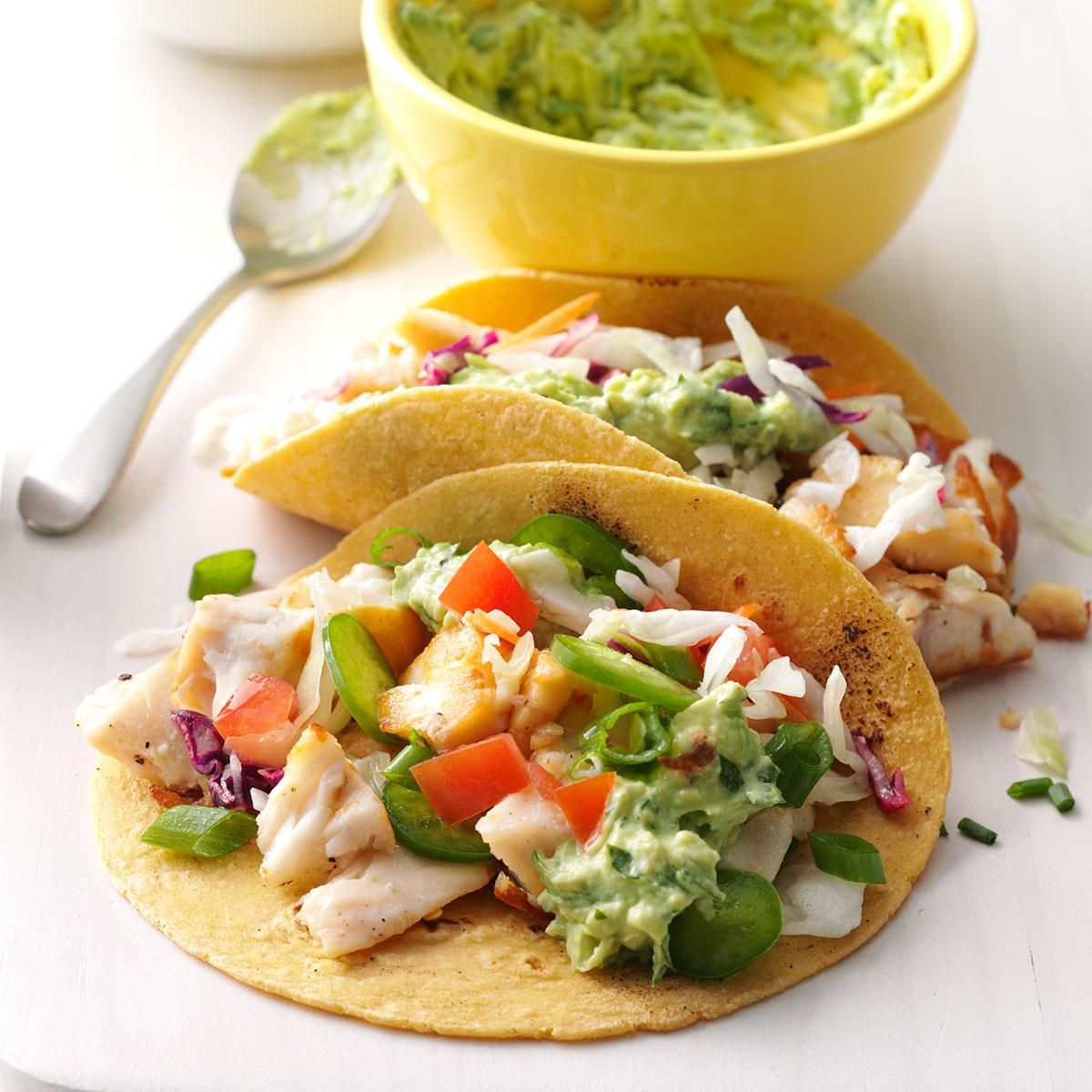Fish Tacos With Guacamole Recipe Fish Tacos Seafood Recipes Recipes