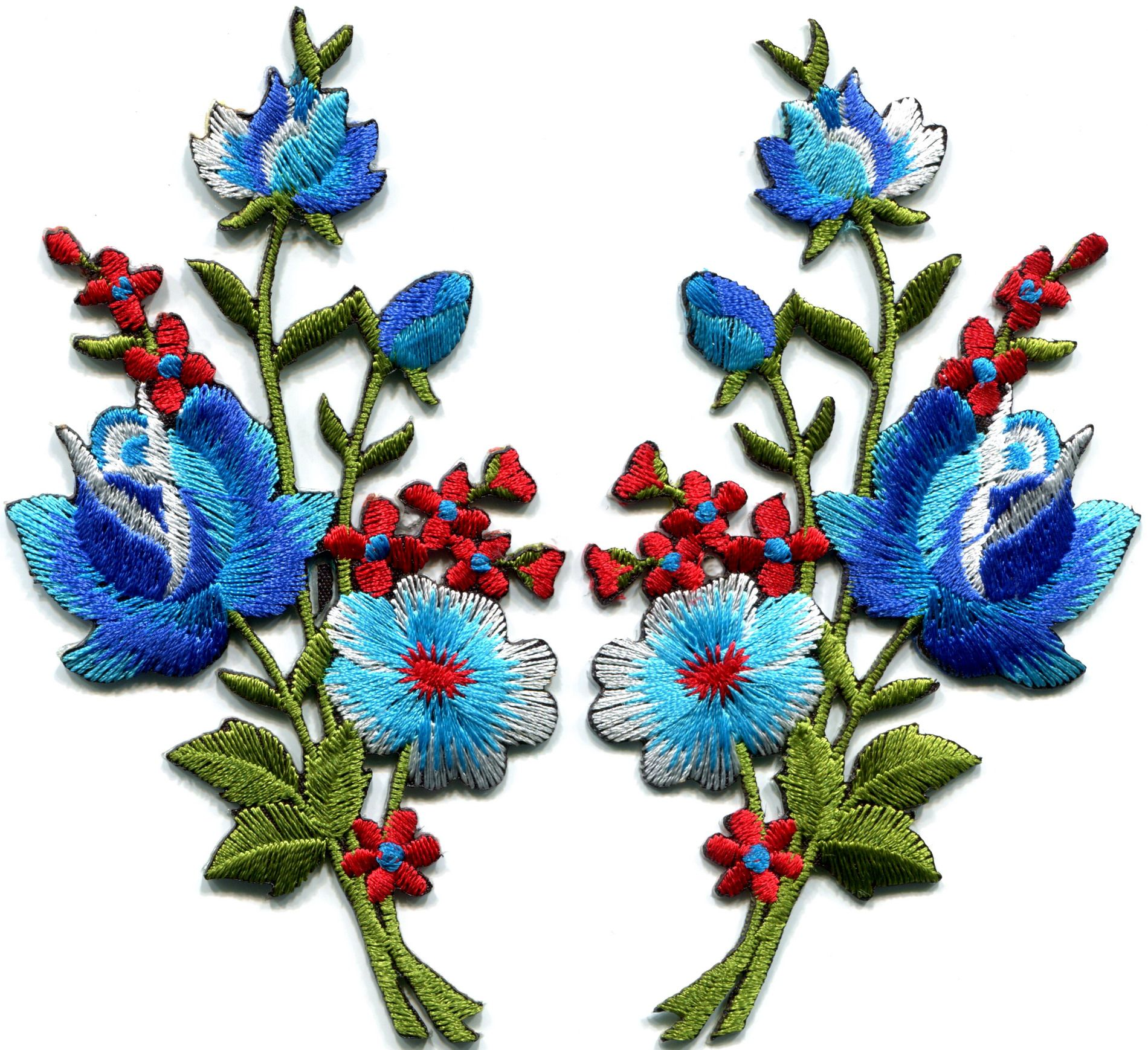 Details about blue red roses pair flowers bouquet
