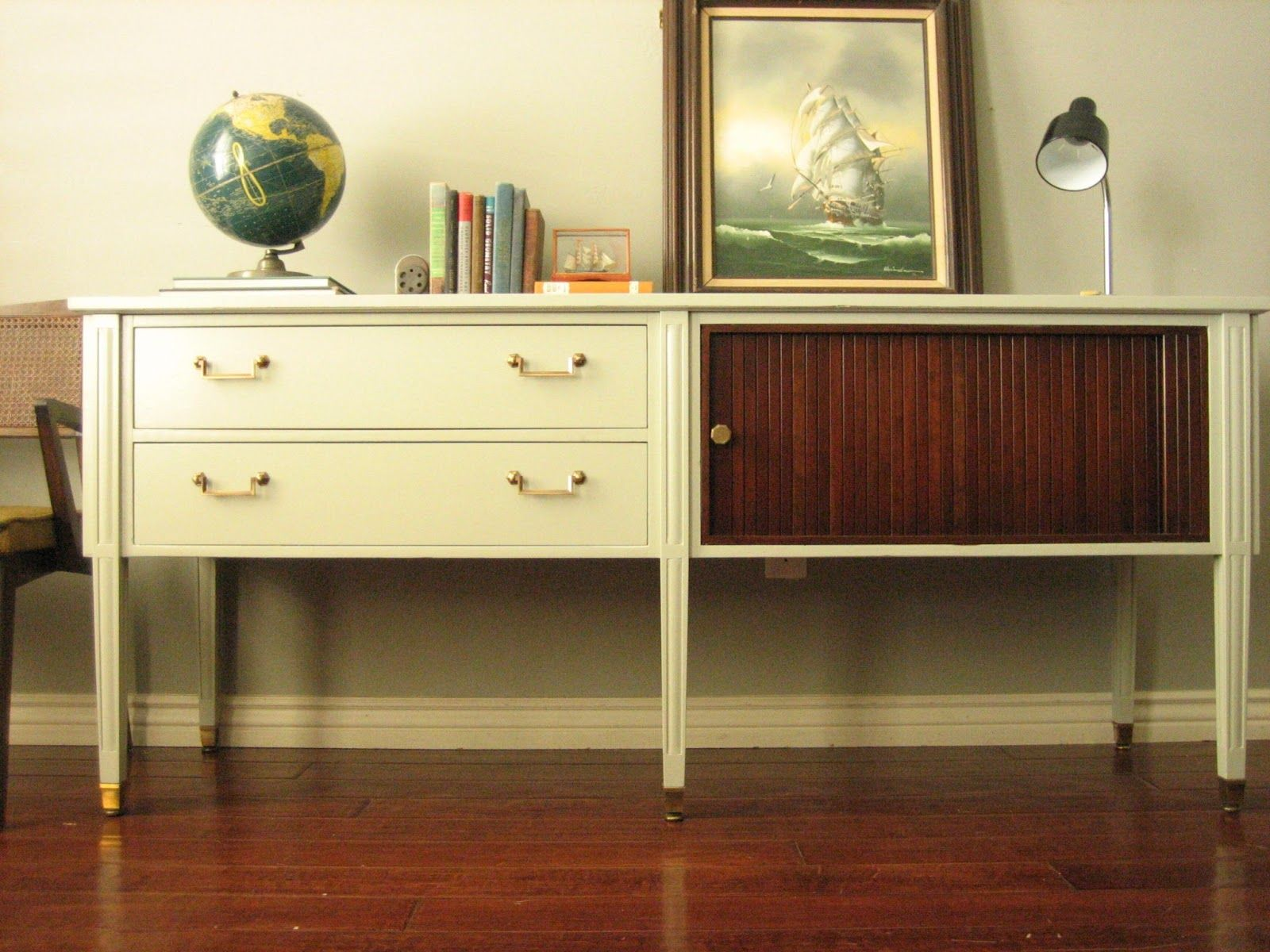 European Paint Finishes Vintage Clay Gray Console sideboard