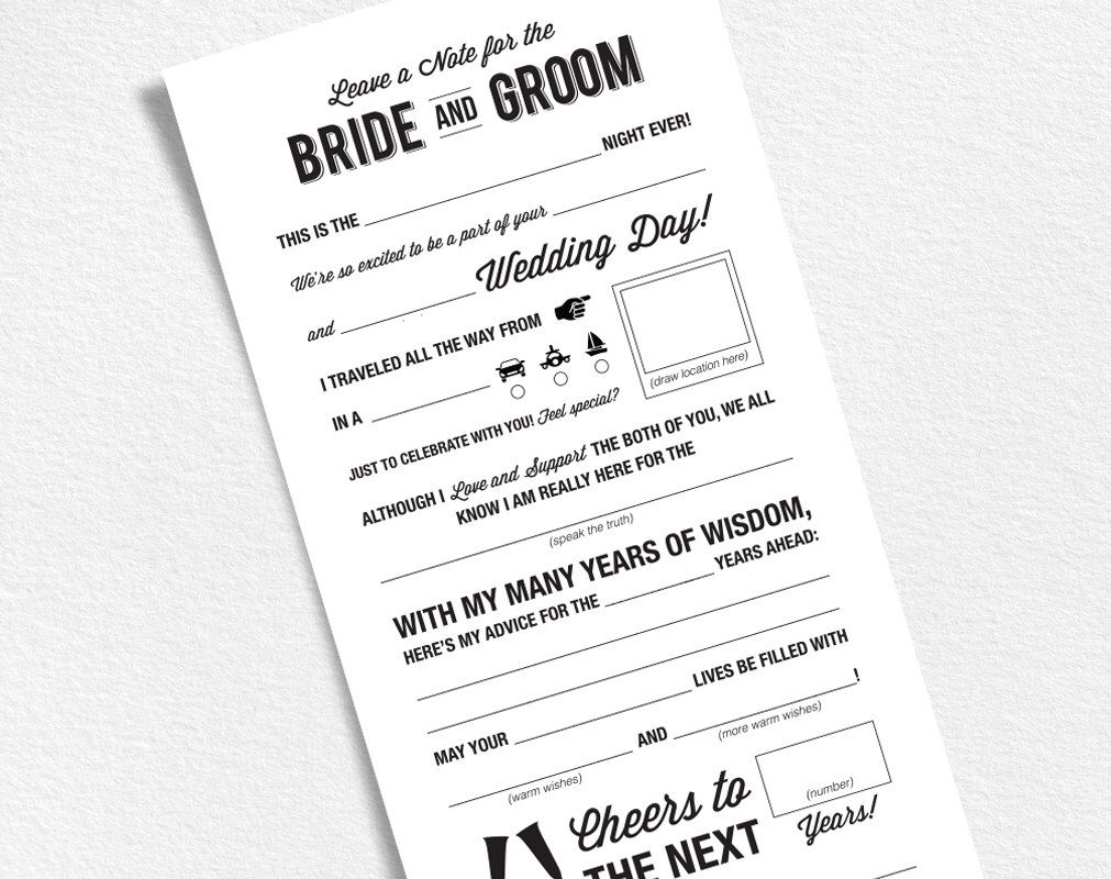 Wedding Mad Libs Printable Template Wedding Keepsake Marriage