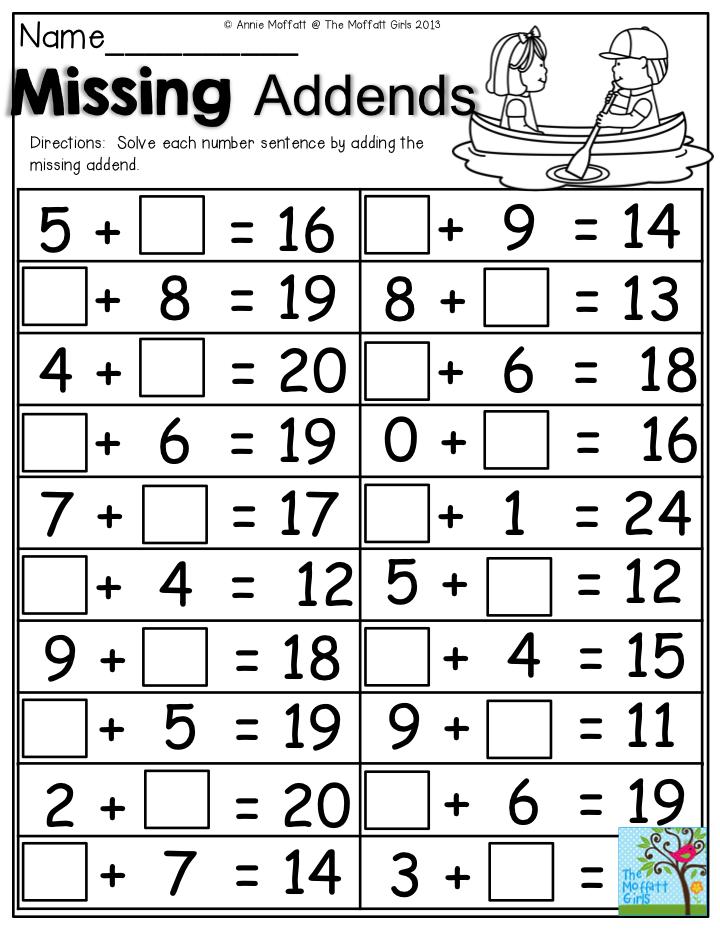 math worksheet : missing addends solve each number sentence by adding the missing  : Addends