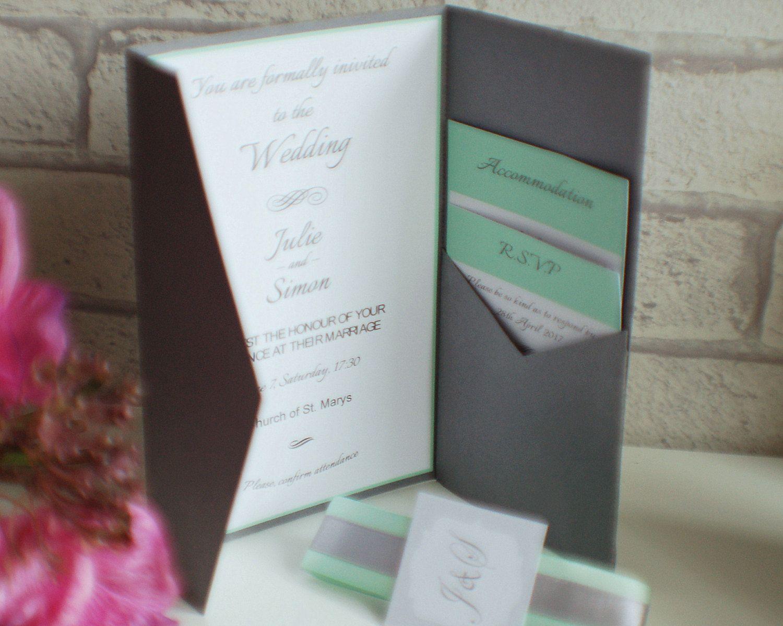 Pocket Fold Wedding Invitation Ribbon Wedding Invitation