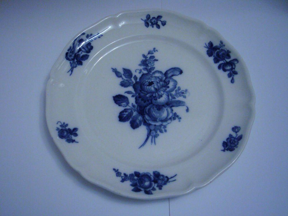 Villeroy Boch Mettlach Germany Flow Blue Floral 10 Plate Flow