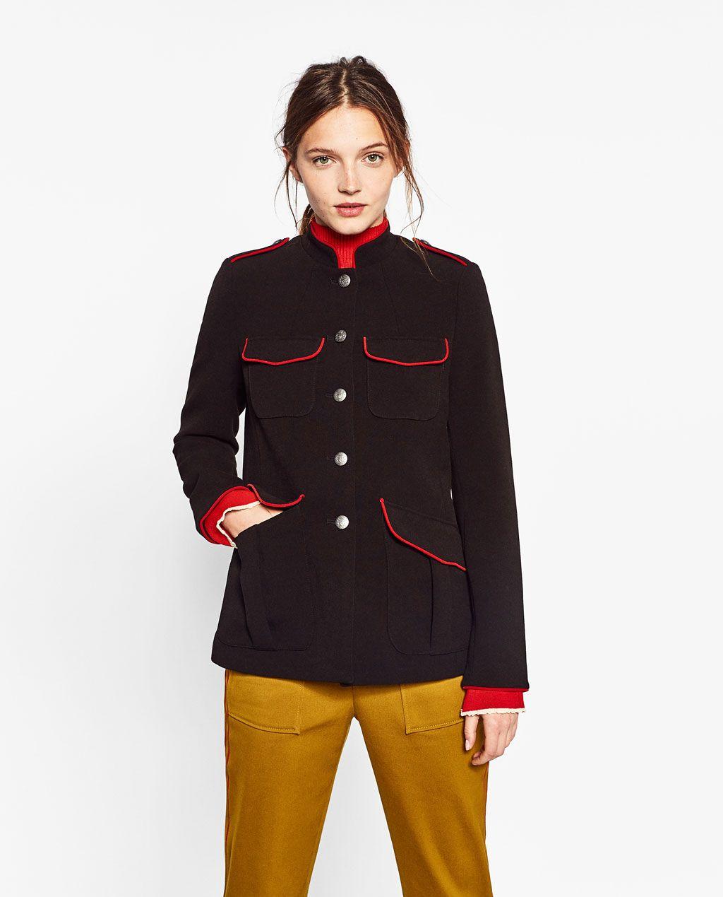 chaqueta corta negra militar zara