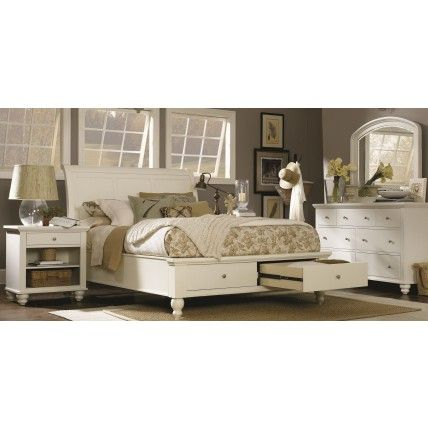 aspenhome cambridge sleigh storage bedroom set in eggshell house