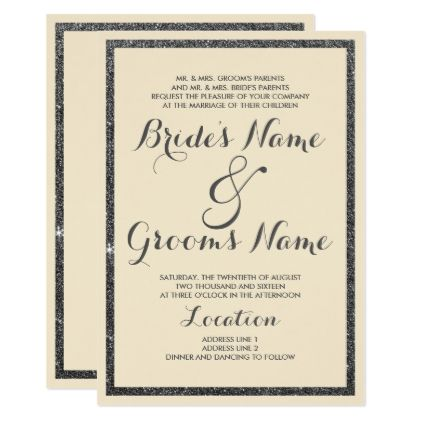 Modern ivory elegant black faux glitter Wedding Card