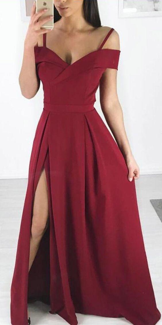 Dresses Party 2019 Side Slit En Prom Burgundy Simple Cheap Long 0X8wONnPk