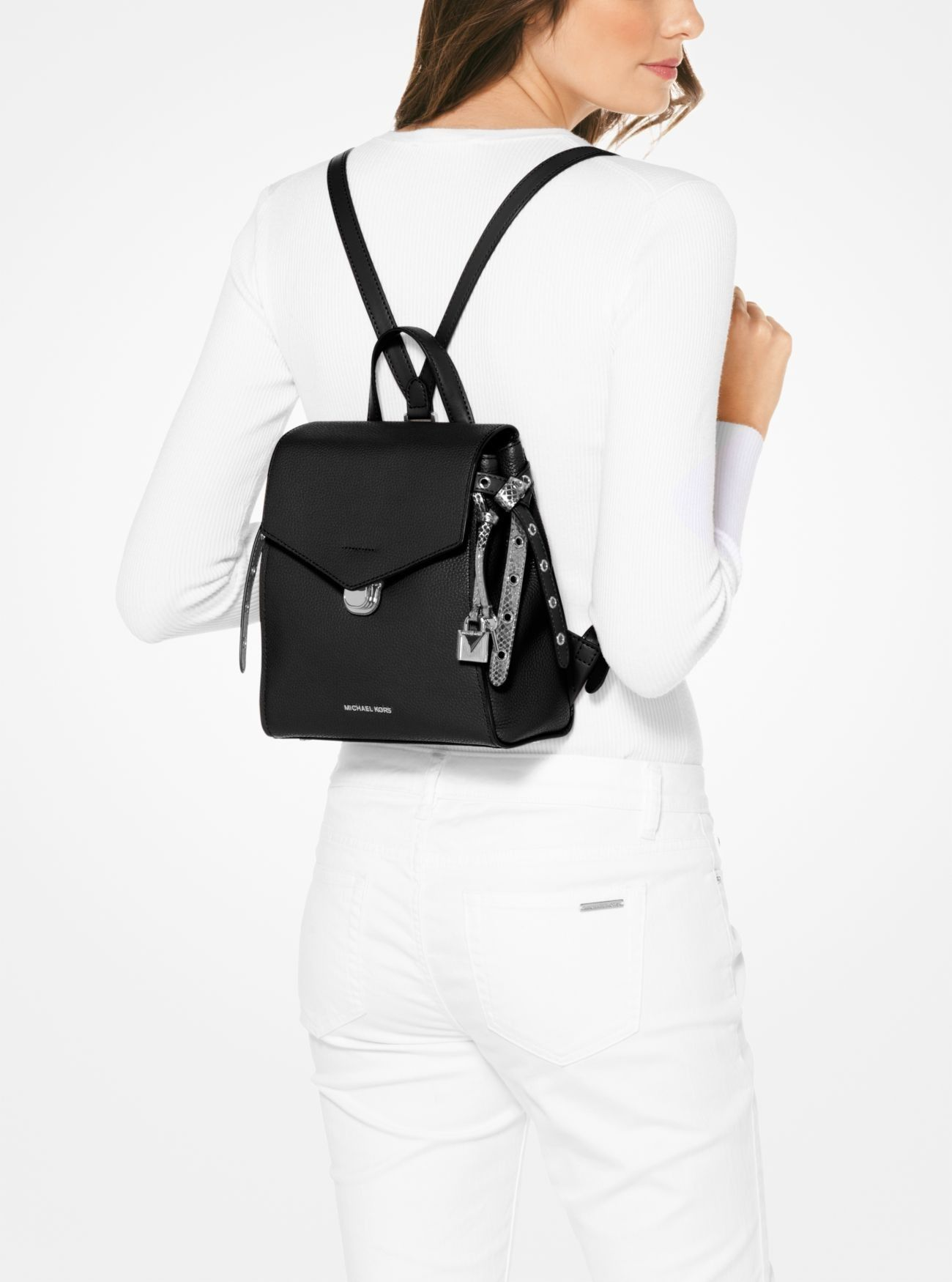 1264cb5ea1cdf Sale Michael Kors Black Bristol Small Leather Backpack Cheapest Prices