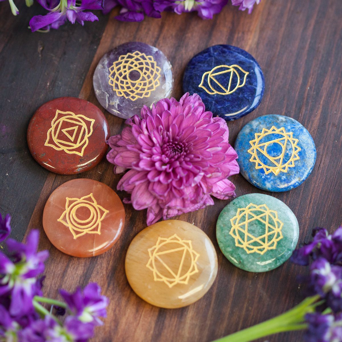 7 chakra palm stone set for cleansing and balancing your