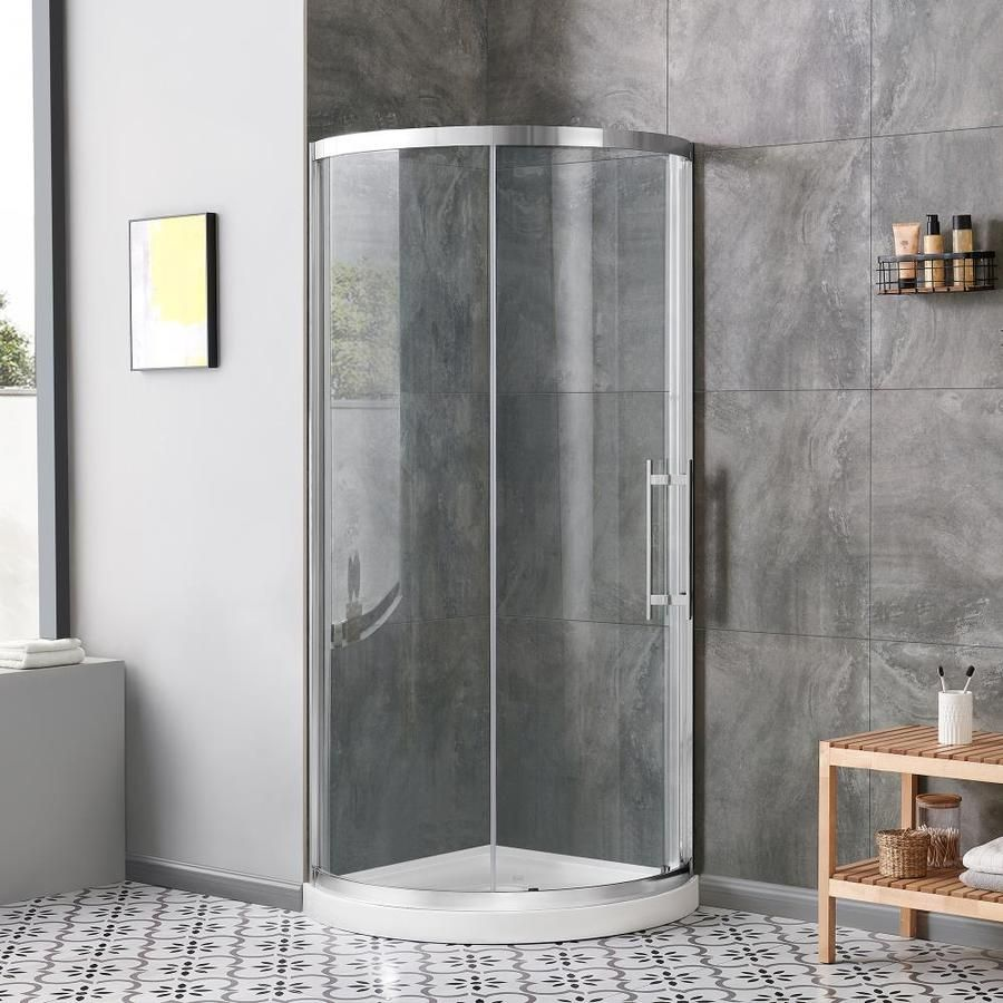 Ove Decors Swift Install Chrome Floor Round 4 Piece Corner Shower Kit Actual 73 25 In X 34 In X 34 In Lowes Com In 2020 Corner Shower Kits Corner Shower Shower Kits