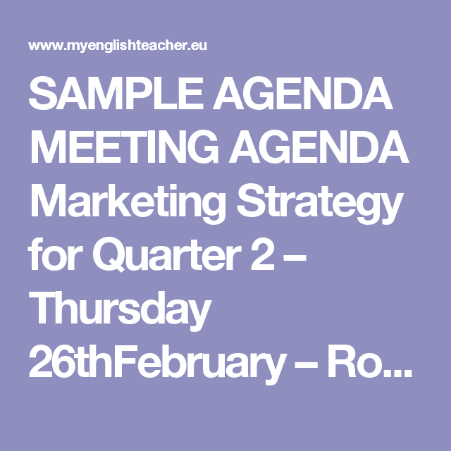 Sample Agenda Meeting Agenda Marketing Strategy For Quarter