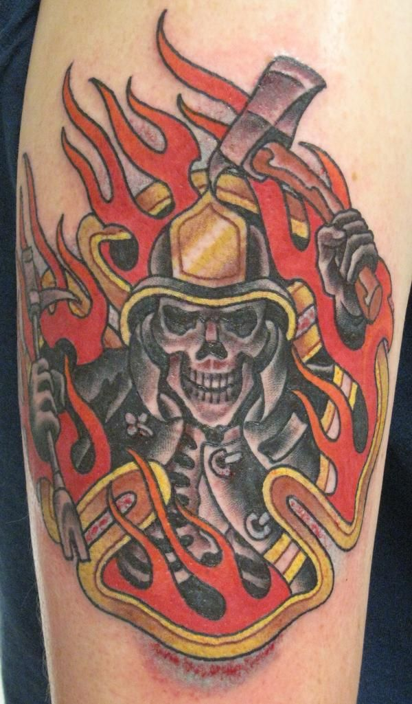 Firefighter Skeleton Tattoo Shoulder Shared By Lion Fire